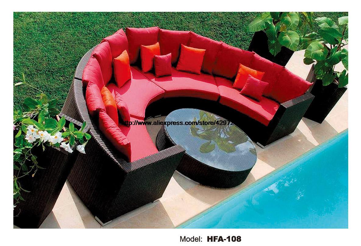 Half Round Wicker Sofa Set Garden Sofa  With Coffee Table Health PE Ratten Furniture Patio Outdoor Sofa Set HFA108