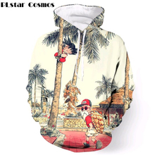 2018 Autumn Hoodies Anime Dragon Ball Kid Goku and Master Roshi Vintage Printed Hooded Sweatshirt Men Women 3D Hoodie Pullover