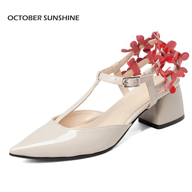 OCTOBER SUNSHINE Summer pointed toe high heels sandals womens Work shoes 2017 Fashion flowers patent leather women pumps shoes plus size 2017 new summer suede women shoes pointed toe high heels sandals woman work shoes fashion flowers womens heels pumps