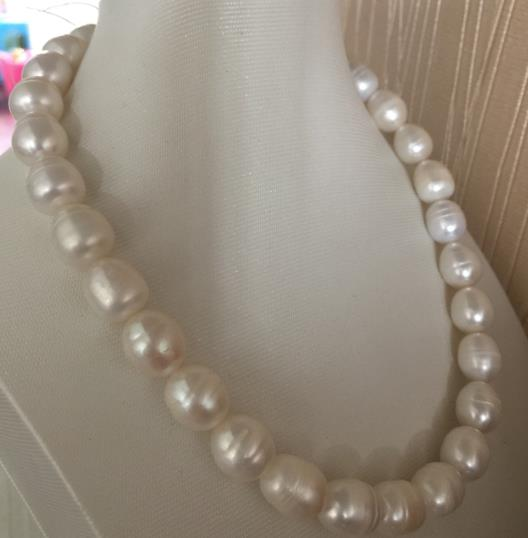 elegant13-14mm south sea baroque white pearl necklace 18inch 925silver gorgeous 13 14mm south sea baroque multicolor pearl necklace 18inch