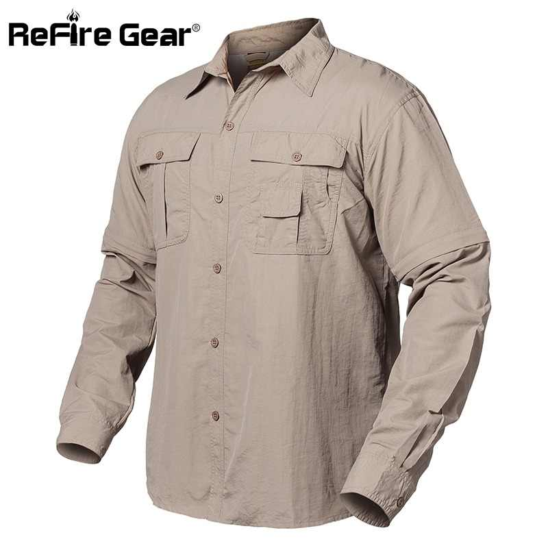 172d751f5377 ReFire Gear Summer Army Tactical Shirt Men Quick Dry Pockets Cargo Military  Shirt Spring Breathable Removable
