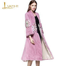 LVCHI Brand 2017 Genuine Fur Women's Jacket Diamonds Patch Real Fur Coats For Women Full Pelt Long Fur Leather V-Neck Mink Coat