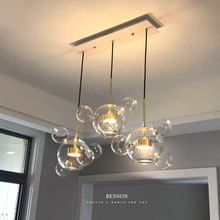 Art Creative Soap Bubble Clear Glass Ball LED Pendant Light Livingroom Bedroom Dining Room Designer Light Fixtures Free Shipping