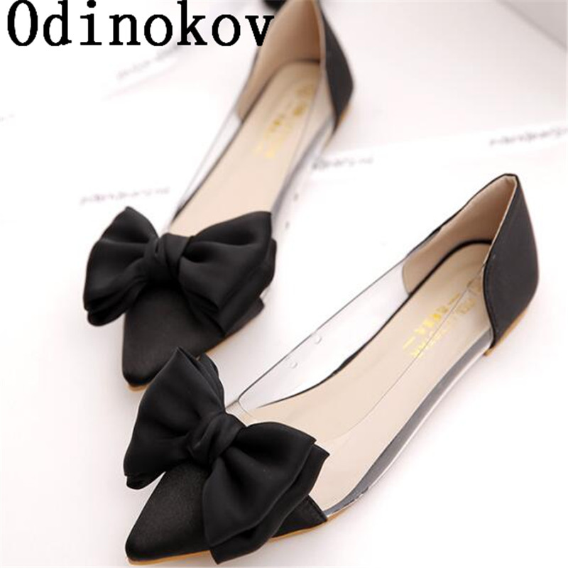 Odinokov Spring Women Flats Shoes New 2017 Shoes Woman Bowtie Pointed Toe Casual  Ballet Ballerina Ballet Flat Sandals 2017 spring summer new women casual pointed toe loafers flats ballet ballerina flat shoes plus size 34 43