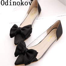Odinokov Spring Women Flats Shoes New 2017 Shoes Woman Bowtie Pointed Toe Casual  Ballet Ballerina Ballet Flat Sandals
