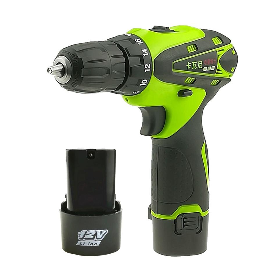 12 V destornillador eléctrico batería de litio recargable * 2 Parafusadeira Furadeira destornillador inalámbrico herramientas eléctricas de dos velocidades
