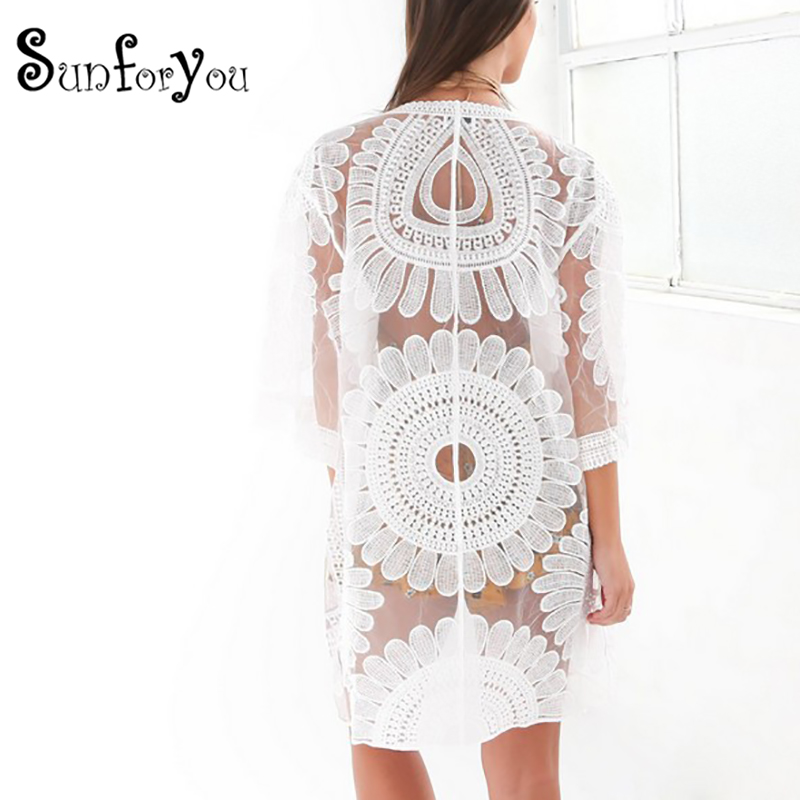 da142cf7cc New 2019 Pareos Beach Cover Up Floral Embroidery Swim suit Cover Up Women  Robe De Plage Beach Cardigan Bathing Suit Cover Ups
