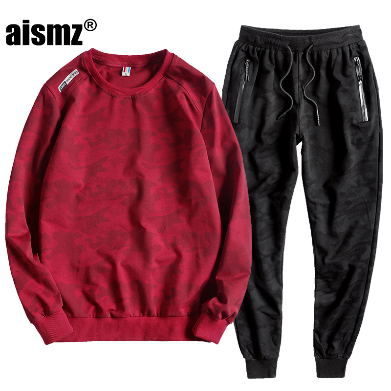Aismz Mens Sportswear Tracksuit Two Piece Sets Pullover Hoodies + Pants Sportwear Suit Male Hoodies plus sportsman wear L-10XL ...