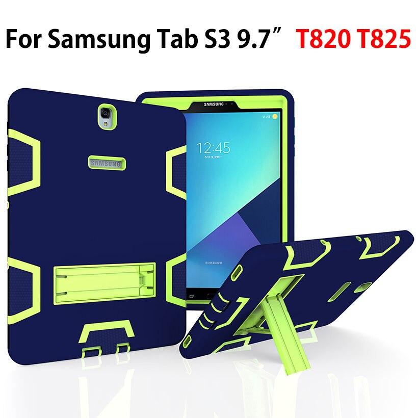 "Amor Heavy Duty Fodral till Samsung Galaxy Tab S3 9,7 ""T820 T825 Fodral Bakdräkt Fodral Tablet Kids Safe Shockproof Kickstand Cases"