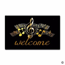 Custom Funny Printed Doormat Music Note Decor Indoor/Outdoor Door Mat 18 Inch by 30 Non-woven Fabric N