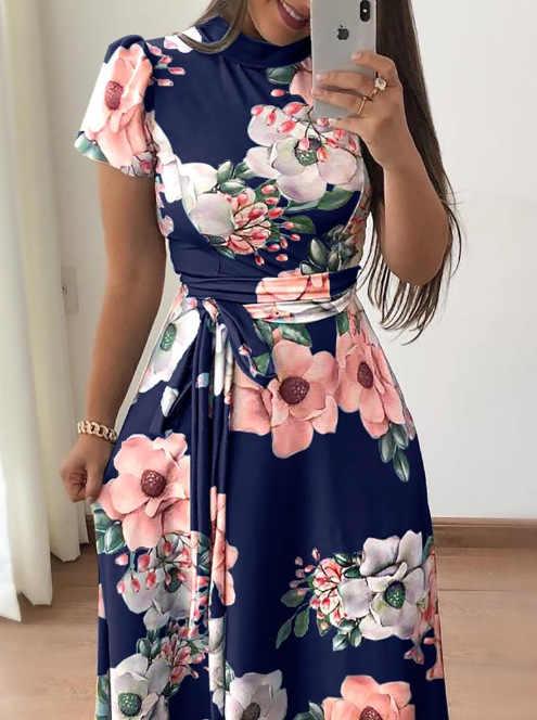 e79dd3b659e ... AVODOVAMA M 2018 летние платья цветочный принт повседневные свободные  макси платье для женщин короткий рукав галстук ...