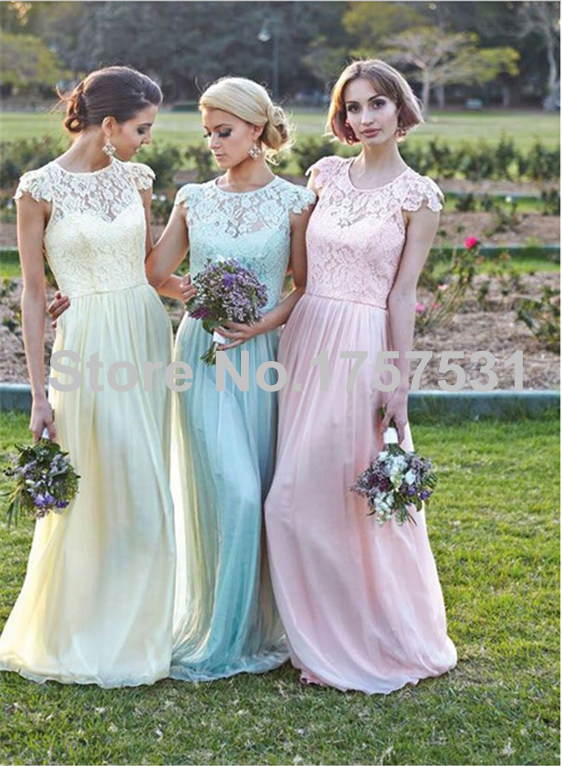 Lace cap sleeves chiffon bridesmaid dresses puffy summer for Lace wedding reception dress
