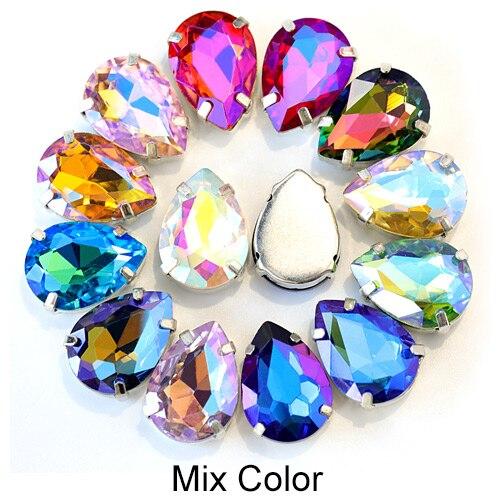 5 размеров красочные стеклянные хрустальные серебряные коготь пришивные стразы с коготь капли воды красные Пришивные коготь стразы для одежды B0403 - Цвет: Mix Color