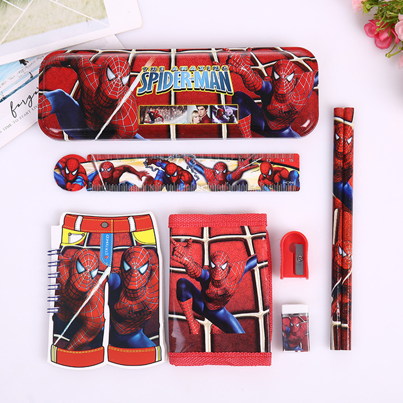 8pcs/set cartoon Spiderman stationery set novelty kawaii students school supplies children back to school study high quality factors contributing to indiscipline among high school students