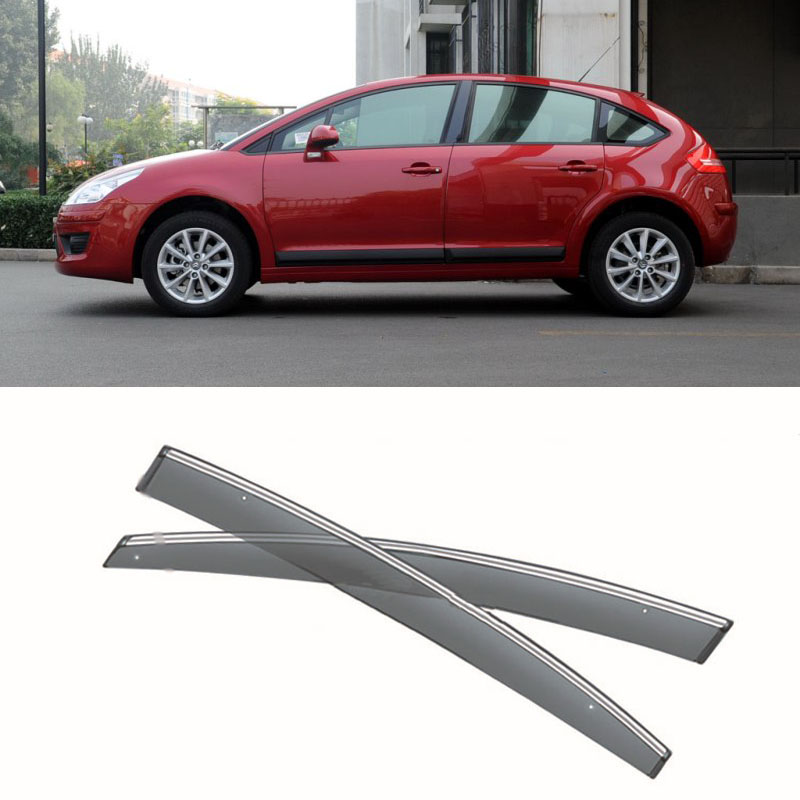 Jinke New 4pcs Blade Side Windows Deflectors Door Sun Visor Shield For Citroen C4  2008 jinke 4pcs blade side windows deflectors door sun visor shield for peugeot 408 2010 2013