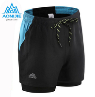 AONIJIE Male Professional Sports Shorts Men Quick Drying Breathable Running Shorts Mens Double Layer Fitness Bodybuilding