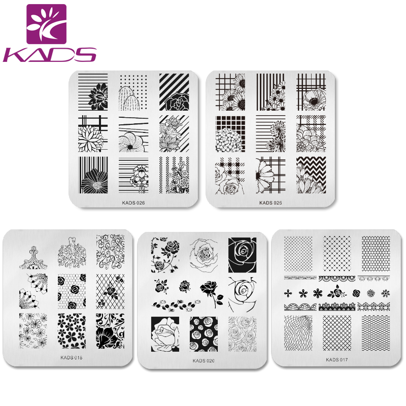 KADS 5pcs/set Beautiful Flower Design Nail Art Stamp Template Stamping Plates Gorgeous Lace Image Manicure Stencil DIY Tool 10pcs nail art stamping printing skull style stainless steel stamp for diy manicure template stencils jh461 10pcs