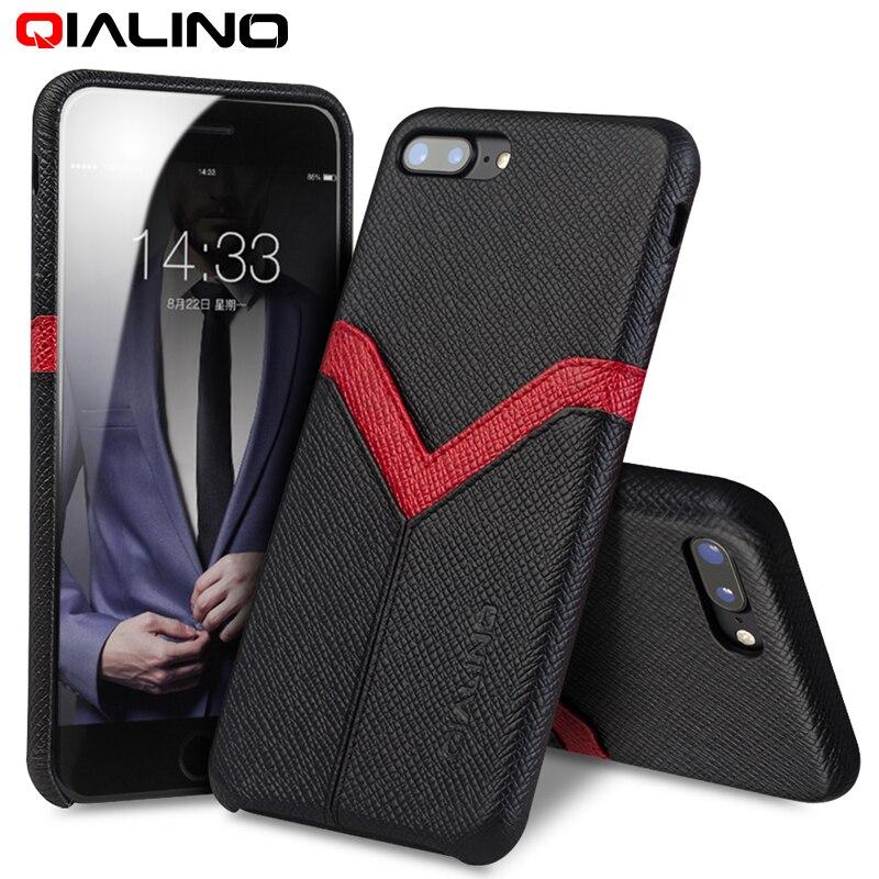Pouzdro QIALINO pro iPhone 8 plus pravá kůže Zpět Luxusní - Příslušenství a náhradní díly pro mobilní telefony