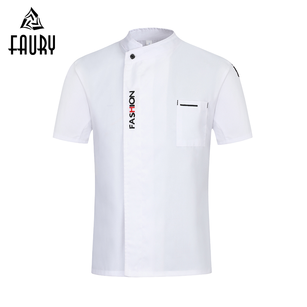 2019 New Chef Uniform Chef Jacket Women Men Restaurant Cooking Clothes Short Sleeve Hotel Barbershop Kitchen Cafe Work Clothes