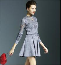 2016 Spring New European and American Fashion Temperament Openwork Lace Dress Short Mini Dress Gray Lantern Sleeve O-NeckA80333
