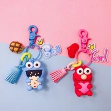 2019 Hot Pretty Keyring Cartoon Anime Sesame Street Elmo Cookie Monster Doll Keychains Car Bag Pendant Bell Figure Toys