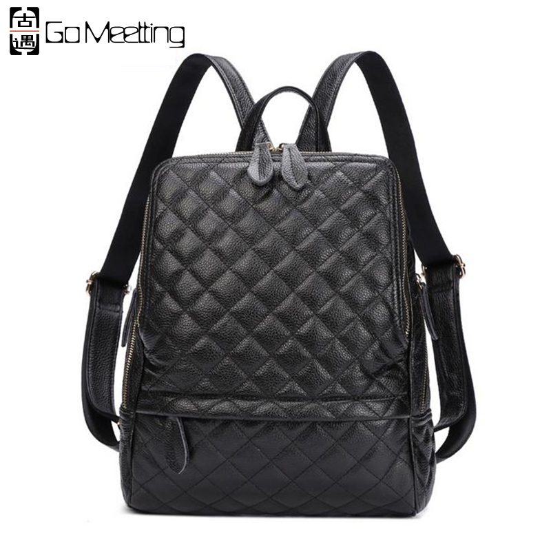 Go Meetting Luxury Genuine Leather Women's Backpack Diamond Lattice Cow Leather Women School Shoulder Bag Travel Backpacks WB15 go meetting fashion women waterproof oxford backpack famous designers brand shoulder bag leisure travel backpacks for girl