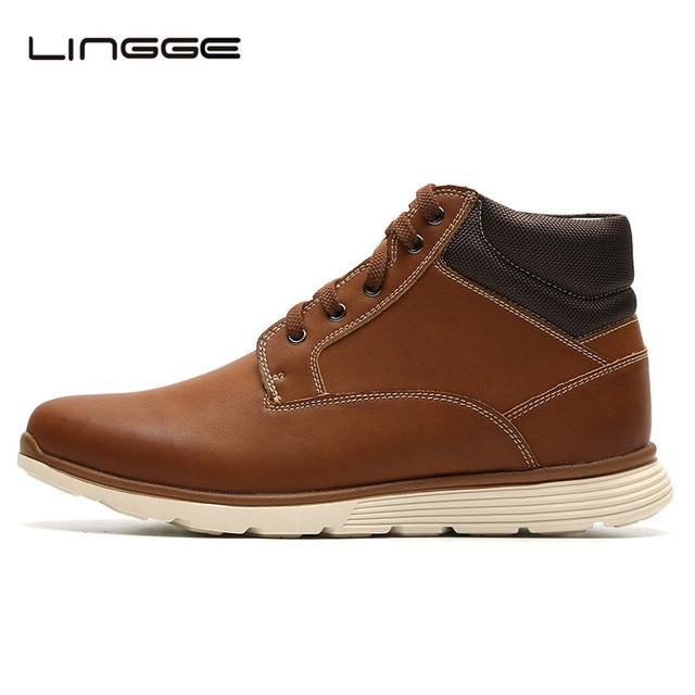 210da177 Botas de hombre de marca LINGGE, zapatos de hombre de encaje de moda botas  de
