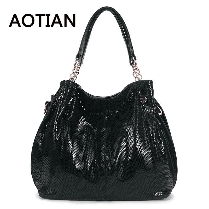 New Fashion Genuine Leather Women Shoulder Bag Brand Designer High Qualiry Handbags Tote Crossbody Bag Snake Skin Messenger Bags
