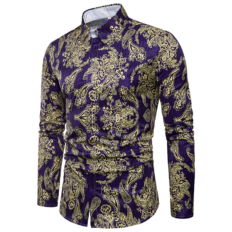 zemtoo Classic Men Dress Shirt Breathable Mens Long Sleeve Brand Clothing 2018 Retro Floral Printed Man Casual Shirt