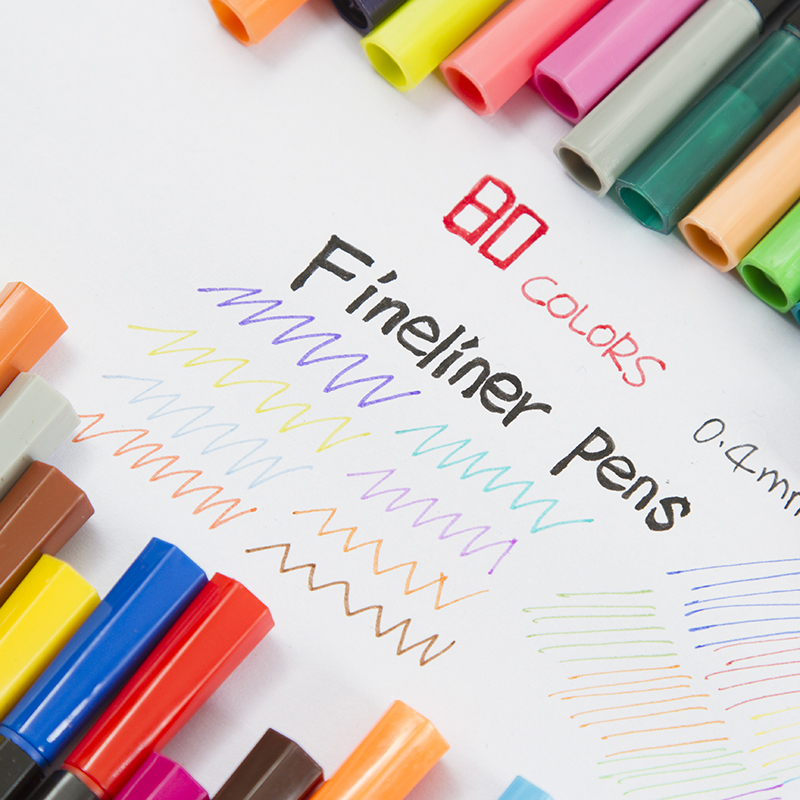 0 4 mm 80 Colors Fineliner Pens Water Based Assorted Ink Arts Drawing Fiber Pen in Art Markers from Office School Supplies