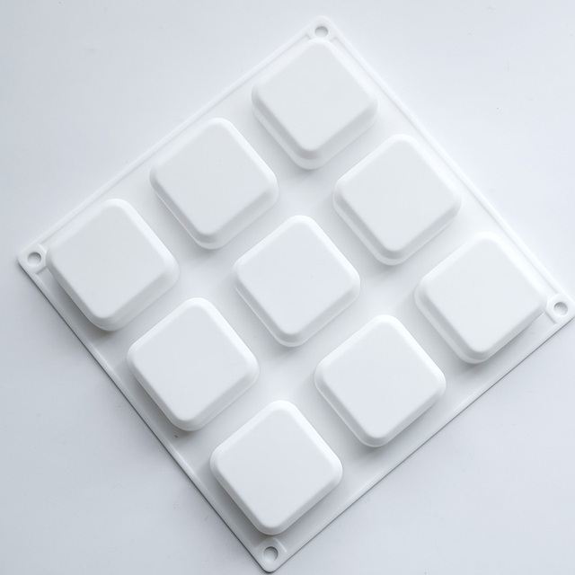 9 Holes Square Silicone Soap Mold Making Tool Cube Shape Manual Resin Craft 3D Soap Molds Chocolate Cake Baking Cooking Tools