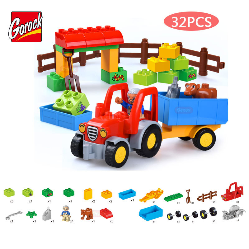 GOROCK Large Particles 32PCS/SET Happy Farm Trailer Vehicle Model Building Block Toys Farmer Figures Brick Toy Compatible Duplo umeile brand farm life series large particles diy brick building big blocks kids education toy diy block compatible with duplo