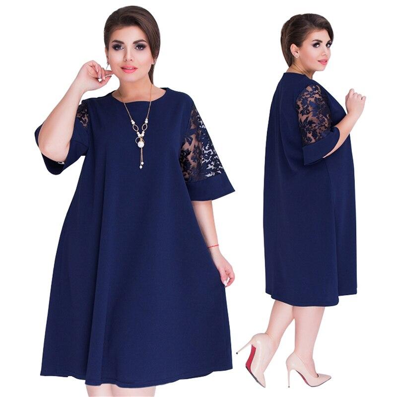 Rimiut Loose Lace Summer Dresses Big Size 2018 Plus Size Women Knee Length  Office Dress Vintage vestidos XL 6XL Navy Blue Dress-in Dresses from Women s  ... 2b4105024993