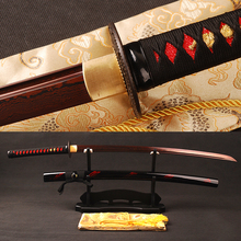 Red Damascus Blade Japanese Katana Folded Steel Samurai Sword Battle Ready Practical Sword Sharp Knife * ESB101