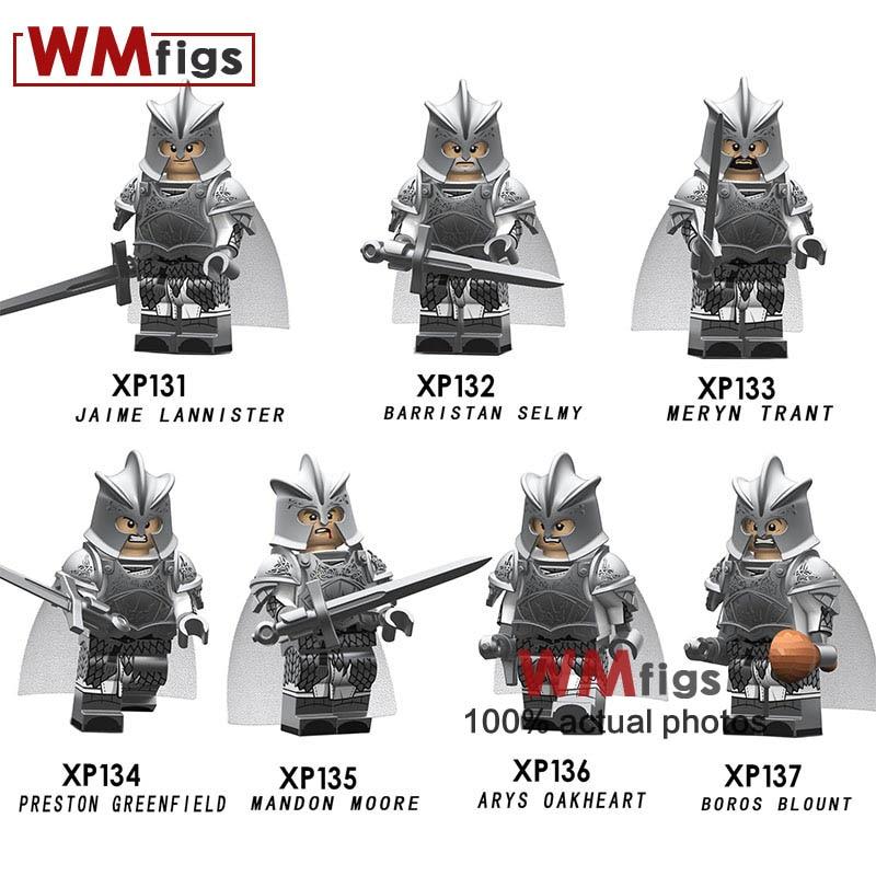 Blocks 7cs/lot Game Of Thrones Set Legoings Tv Characters Kingsguard Lannister Helmet Armor Weapon Building Blocks Toys Juguetes Gift Possessing Chinese Flavors Model Building