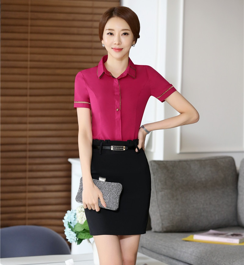 e2ec117314a4 Ladies Formal Uniform Style Professional Tops And Skirt Female ...