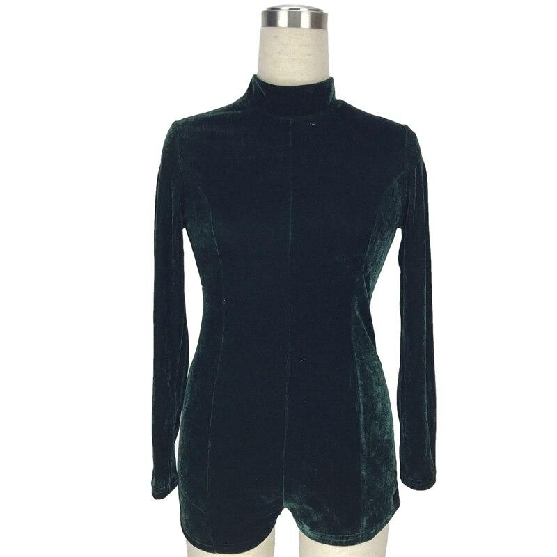 Summer 2018 Sexy Velvet Turtleneck Jumpsuit Romper Short Bodysuit Overalls Zippers Party Playsuit Long Sleeve Jumpsuits Shorts