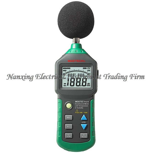 MASTECH MS6702 Digital Sound Level Meter 30dB~130dB Noise Meter dB Decible Meter Tester Temperature Humidity Meter Thermometer