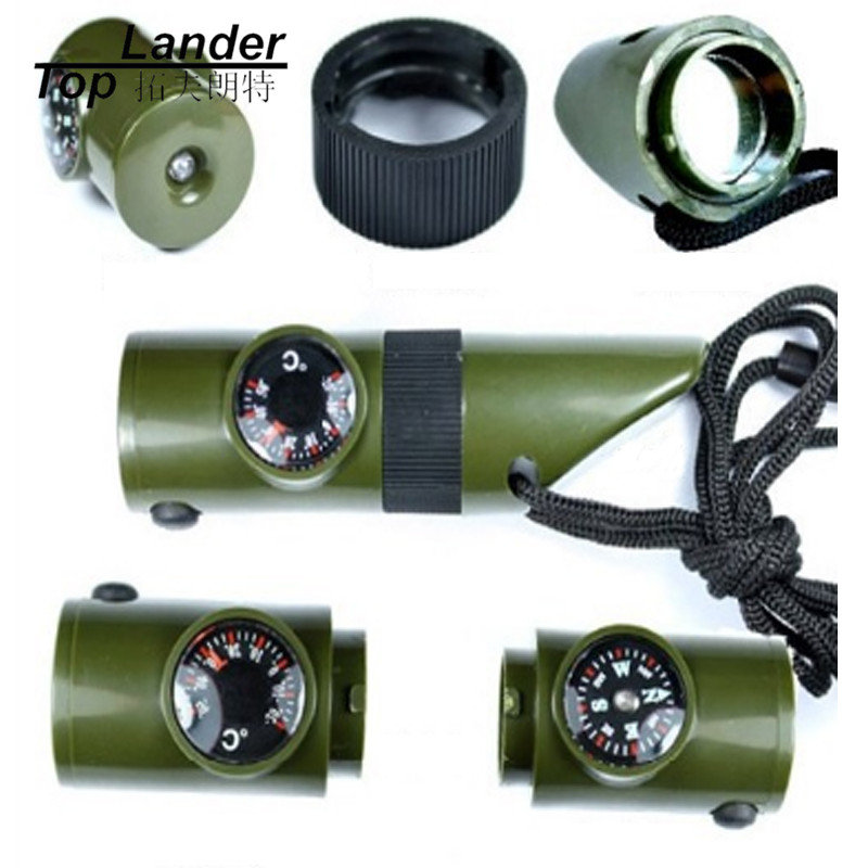 7 In 1 Tool Camping Survival Whistle Compass Thermometer LED Rescue Military Whistle Multifunction Whistle Survival Kits