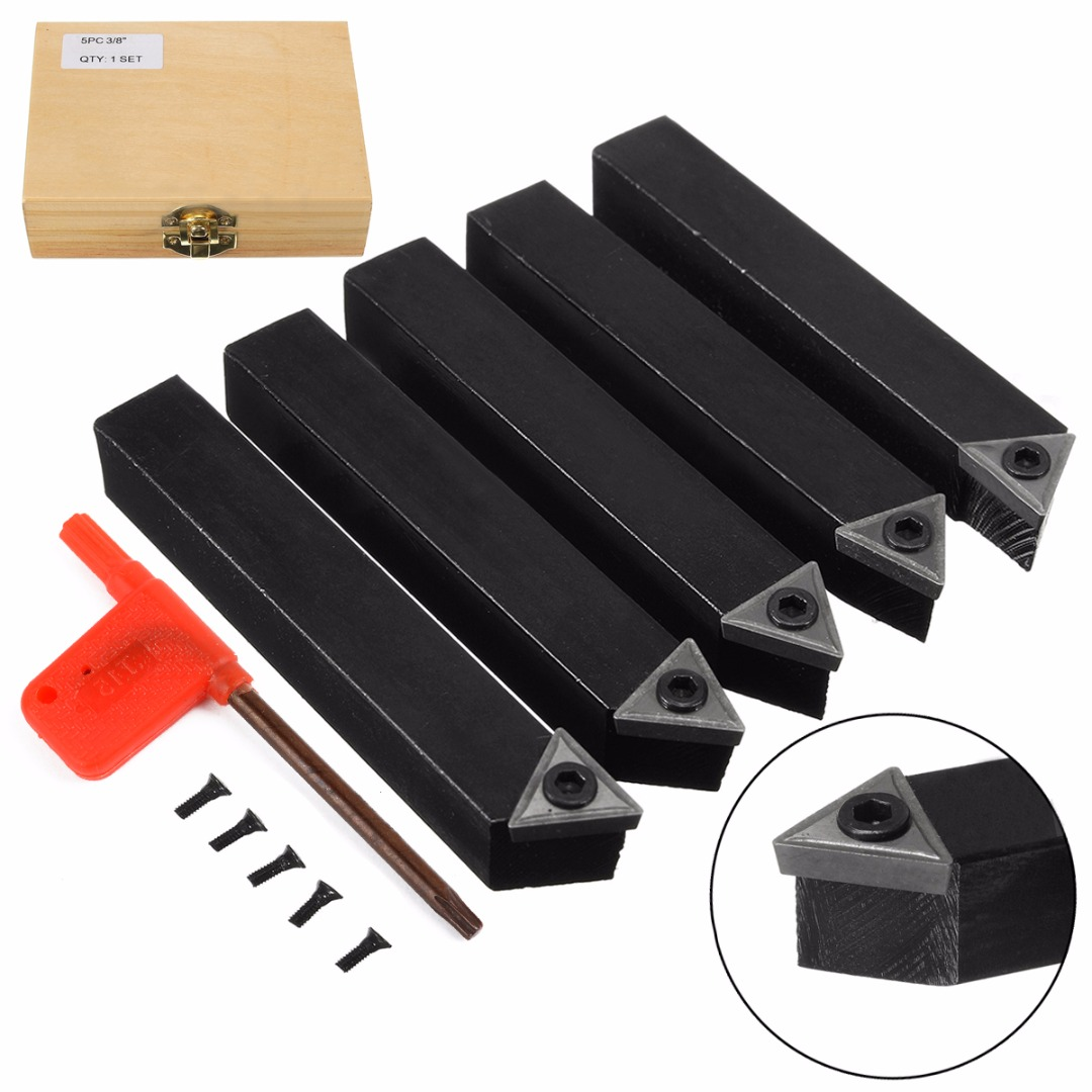 5pcs/set New 3/8 Tip Carbide Indexable Turning Tool Set Mayitr Good Hardness Precision Insert Lathe Tool Bit & Holder Set free shipping quick change m type external turning tool usage holder mssnr l for carbide insert snmg120408