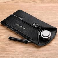 WilliamPOLO Hight Genuine Leather Housekeeper Key Wallet Car Bag Pouch Ring Keychain Car Key Holder Cash Coin Card Holder Purse
