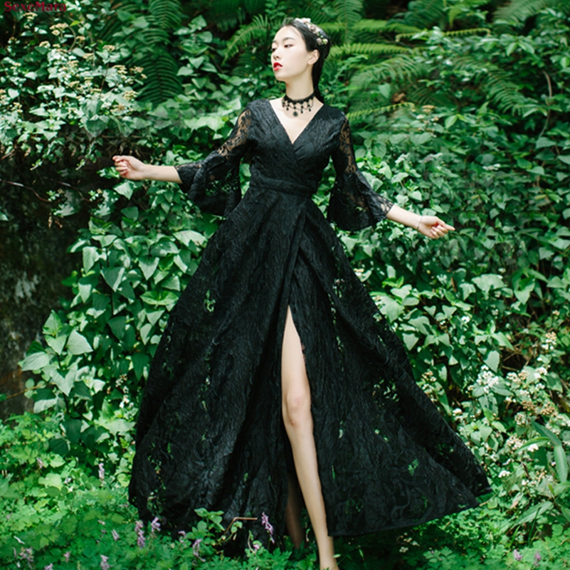 SexeMara fashion The New Speaker sleeve Lace V collar Vacation dress Free shipping