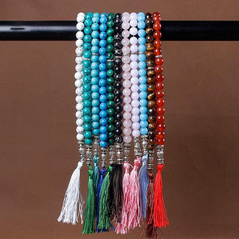 Image 2 - 10mm Tiger Eye Natural Stone Bracelets Tassel Pendant 33 Prayer  Beads Islamic Muslim Tasbih Allah Mohammed Rosary For Women MenStrand  Bracelets