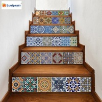 LumiParty 6pcs DIY Self Adhensive Waterproof Wall Stairs Ceramic Tile 3D Printing PVC Sticker Decal Decor
