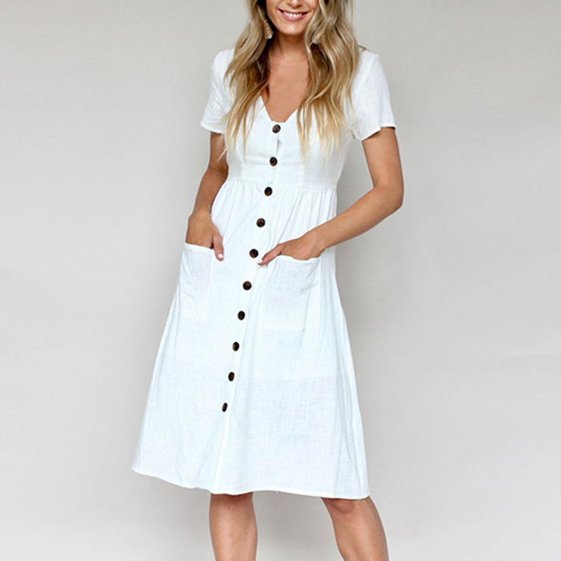Women's Fashion Casual Summer Short Sleeve V Neck Button Down Swing Midi Dress with Pockets Beach Summer Dress