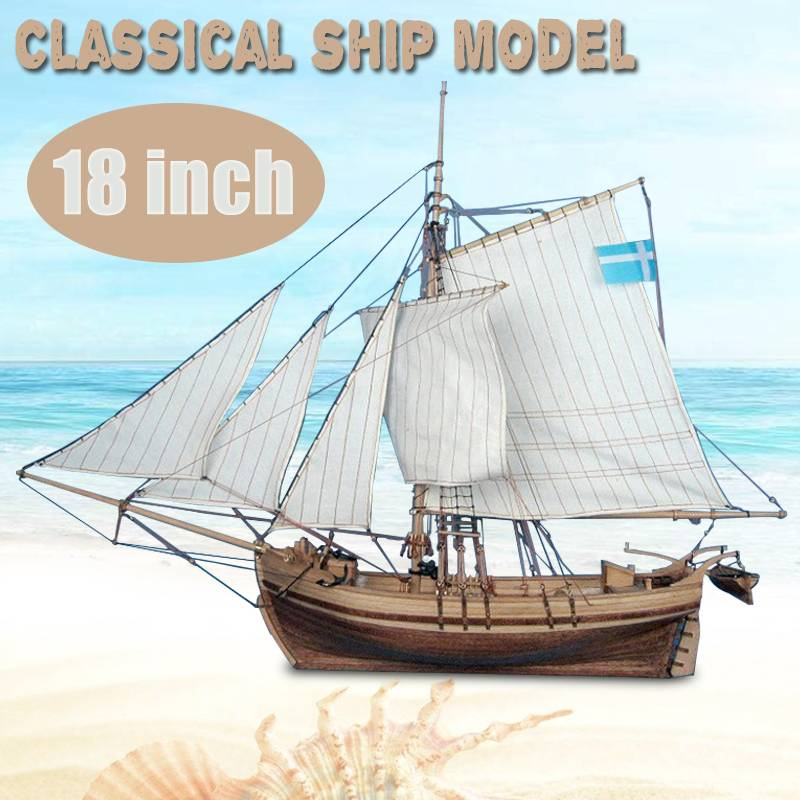 LBLA 18 Inch Classics Sail Boat Model Wooden Swedish Sailboat Ship Kits Home Model Building Kits Decoration Boat Gift Toy