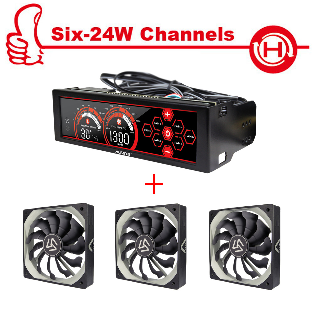 ALSEYE Fan controller and PWM 120mm fan kit 3/4pin 12v 2000RPM radiator for cpu cooler PC cooling fan speed controller personal computer graphics cards fan cooler replacements fit for pc graphics cards cooling fan 12v 0 1a graphic fan