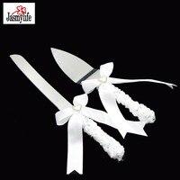 2 ADET/TAKıM Paslanmaz Çelik Düğün Dekorasyon Kek Bıçak Seti Sunucu Ile Beyaz Dantel Şerit Kolu Parti Spatula Kesici Hediye Kutusu