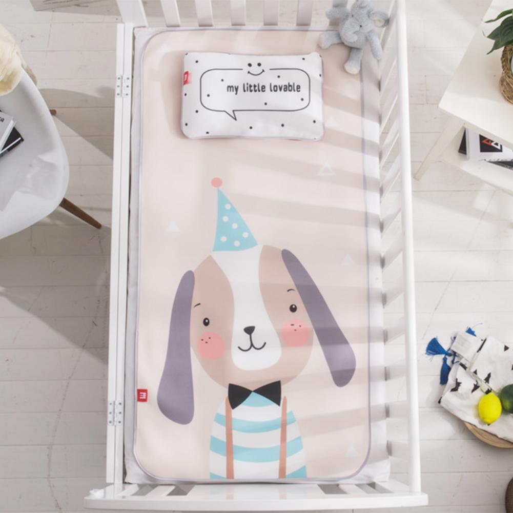 Baby Ice Silk Mat with Pillow Set Kindergarten Kids Mat Cute Cartoon Crib