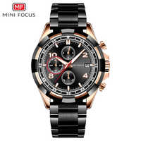 MINI FOCUS Men's Business Dress Quartz Watches Chronograph Wrist Watch Man Stainless Steel Bracelet Relogios Masculino MFS0198